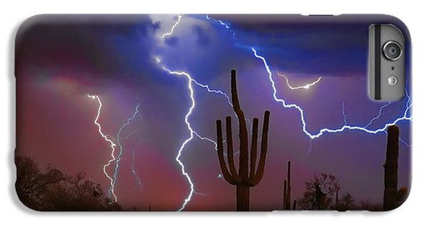 Saguaro Lightning Nature Fine Art Photograph IPhone 6 Plus Case