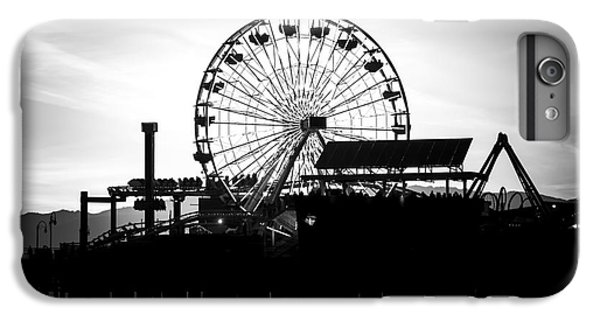 Santa Monica Ferris Wheel Black And White Photo IPhone 6 Plus Case by Paul Velgos