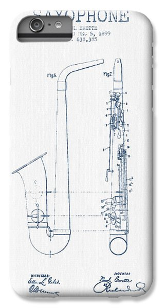 Saxophone Patent Drawing From 1899 - Blue Ink IPhone 6 Plus Case by Aged Pixel