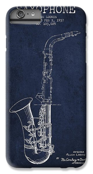 Saxophone Patent Drawing From 1937 - Blue IPhone 6 Plus Case by Aged Pixel
