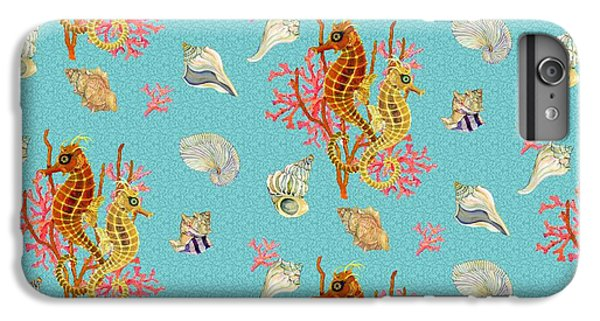 Seahorses Coral And Shells IPhone 6 Plus Case by Kimberly McSparran
