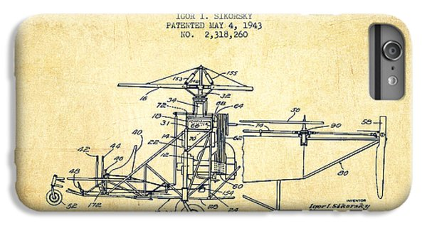 Helicopter iPhone 6 Plus Case - Sikorsky Helicopter Patent Drawing From 1943-vintage by Aged Pixel