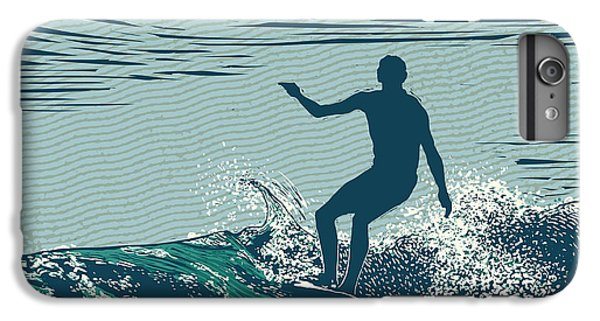 Pacific Ocean iPhone 6 Plus Case - Silhouette Surfer And Big Wave by Jumpingsack