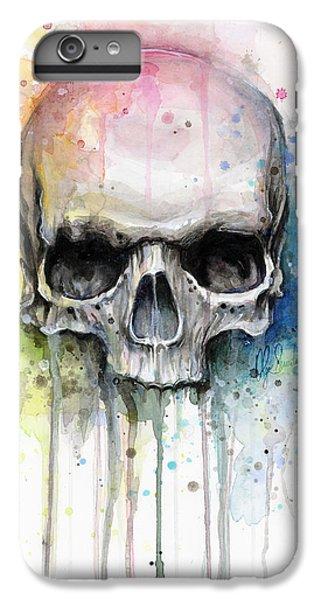 Beautiful iPhone 6 Plus Case - Skull Watercolor Painting by Olga Shvartsur