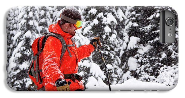 Knit Hat iPhone 6 Plus Case - Smiling Male Skier On A Snowy Landscape by Craig Moore