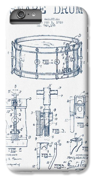 Folk Art iPhone 6 Plus Case - Snare Drum Patent Drawing From 1910  - Blue Ink by Aged Pixel