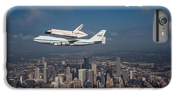 Space Ships iPhone 6 Plus Case - Space Shuttle Endeavour Over Houston Texas by Movie Poster Prints