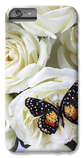 Rose iPhone 6 Plus Case - Speckled Butterfly On White Rose by Garry Gay