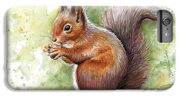 Squirrel iPhone 6 Plus Case - Squirrel Watercolor Art by Olga Shvartsur