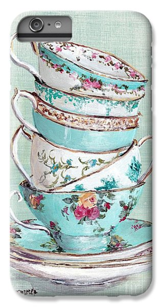 Stacked Aqua Themed Tea Cups IPhone 6 Plus Case by Gail McCormack