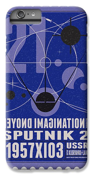 Science Fiction iPhone 6 Plus Case - Starschips 21- Poststamp - Sputnik 2 by Chungkong Art
