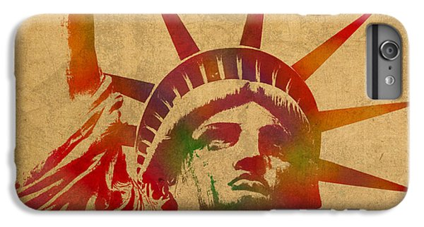Statue Of Liberty Watercolor Portrait No 2 IPhone 6 Plus Case by Design Turnpike