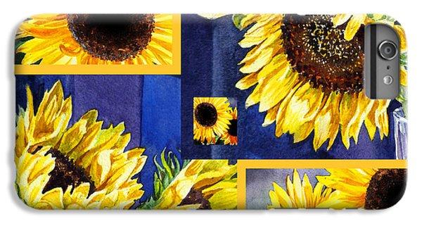 IPhone 6 Plus Case featuring the painting Sunflowers Sunny Collage by Irina Sztukowski
