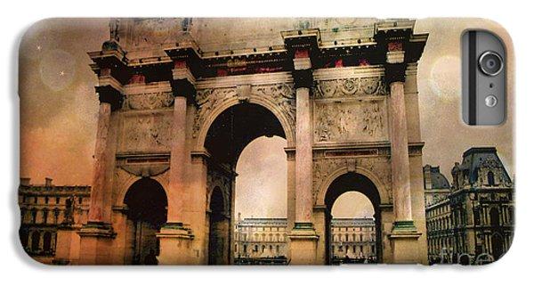 Louvre Museum Arc De Triomphe Louvre Arch Courtyard Sepia- Louvre Museum Arc Monument IPhone 6 Plus Case by Kathy Fornal