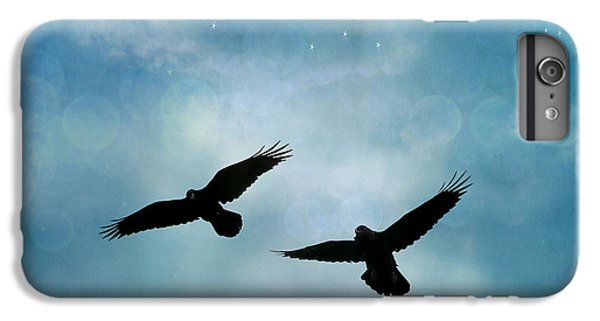 Surreal Ravens Crows Flying Blue Sky Stars IPhone 6 Plus Case by Kathy Fornal