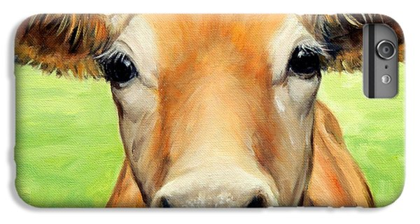 Cow iPhone 6 Plus Case - Sweet Jersey Cow In Green Grass by Dottie Dracos