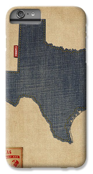 Austin iPhone 6 Plus Case - Texas Map Denim Jeans Style by Michael Tompsett