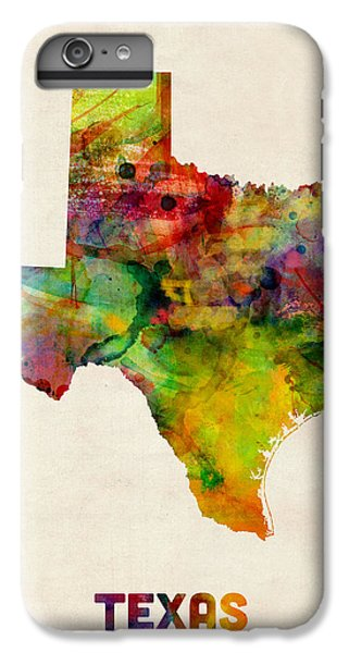 Texas Watercolor Map IPhone 6 Plus Case by Michael Tompsett