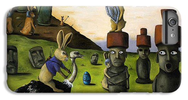 Emu iPhone 6 Plus Case - The Battle Over Easter Island by Leah Saulnier The Painting Maniac