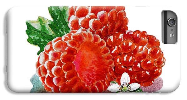 IPhone 6 Plus Case featuring the painting Three Happy Raspberries by Irina Sztukowski