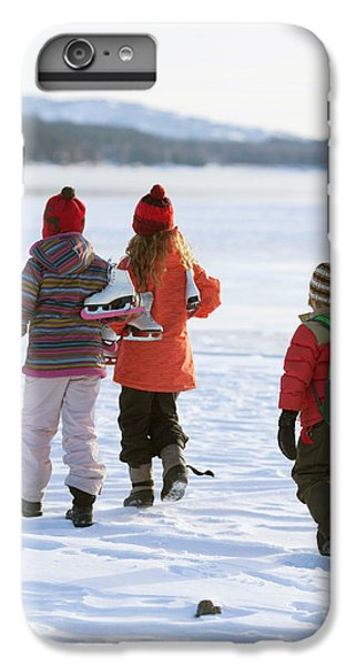 Knit Hat iPhone 6 Plus Case - Three Kids Heading Out To Ice Skate by Woods Wheatcroft