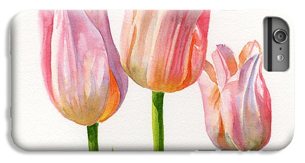 Three Peach Colored Tulips Square Design IPhone 6 Plus Case by Sharon Freeman