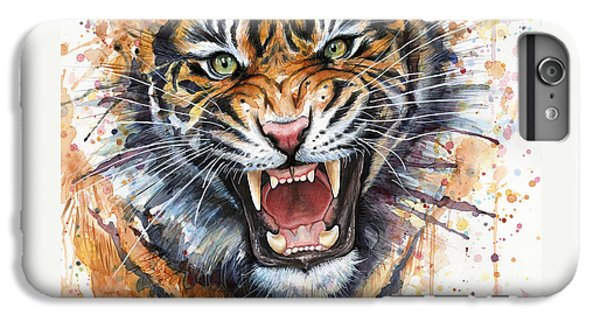 Tiger Watercolor Portrait IPhone 6 Plus Case by Olga Shvartsur