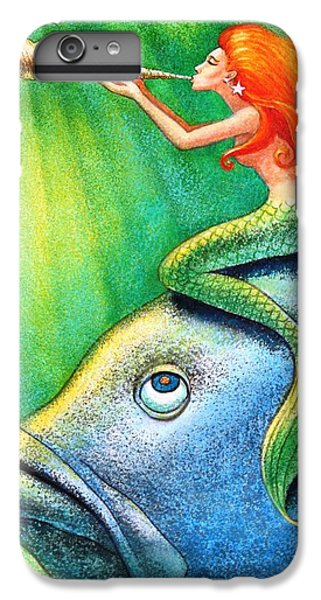 Toot Your Own Seashell Mermaid IPhone 6 Plus Case by Sue Halstenberg
