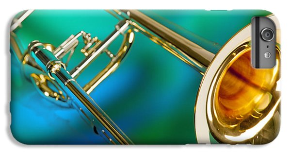 Trombone iPhone 6 Plus Case - Trombone Against Green And Blue In Color 3204.02 by M K  Miller