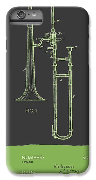 Trombone iPhone 6 Plus Case - Trombone Patent From 1902 - Modern Gray Green by Aged Pixel