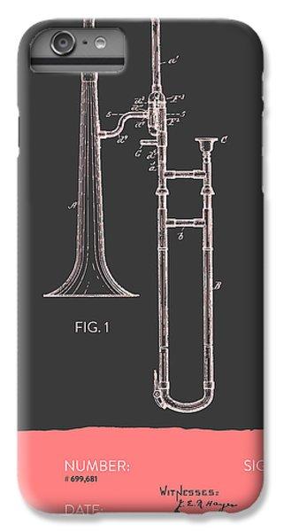 Trombone iPhone 6 Plus Case - Trombone Patent From 1902 - Modern Gray Salmon by Aged Pixel