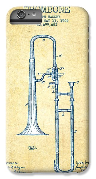 Trombone iPhone 6 Plus Case - Trombone Patent From 1902 - Vintage Paper by Aged Pixel