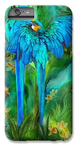 Macaw iPhone 6 Plus Case - Tropic Spirits - Gold And Blue Macaws by Carol Cavalaris