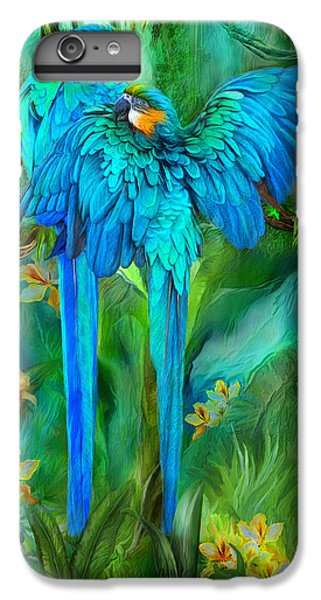 Tropic Spirits - Gold And Blue Macaws IPhone 6 Plus Case by Carol Cavalaris