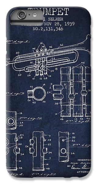 Trumpet Patent From 1939 - Blue IPhone 6 Plus Case by Aged Pixel