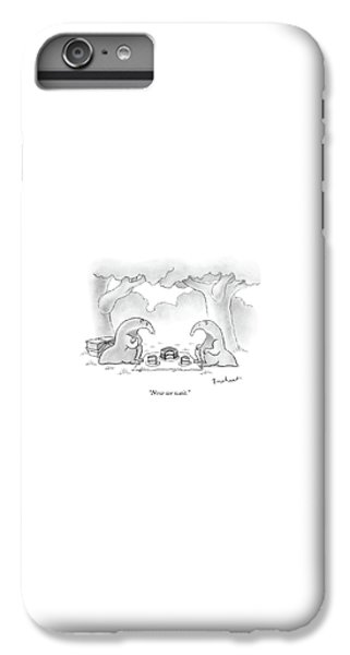 Ant iPhone 6 Plus Case - Two Anteaters On A Picnic Wait For Ants To Come by David Borchart