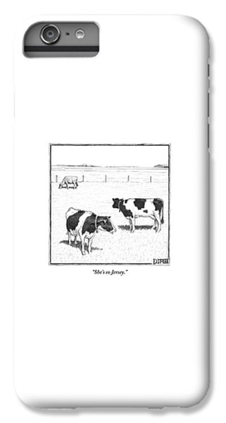 Rural Scenes iPhone 6 Plus Case - Two Spotted Cows Looking At A Jersey Cow by Matthew Diffee