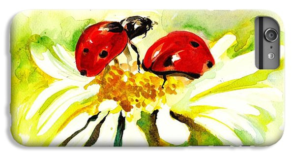 Two Ladybugs In Daisy After My Original Watercolor IPhone 6 Plus Case by Tiberiu Soos
