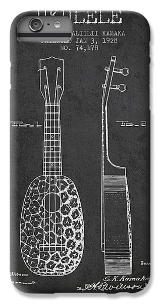 Folk Art iPhone 6 Plus Case - Ukulele Patent Drawing From 1928 - Dark by Aged Pixel