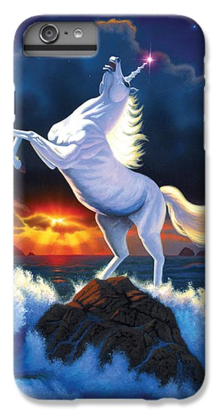 Unicorn iPhone 6 Plus Case - Unicorn Raging Sea by Chris Heitt