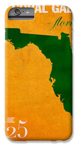 University Of Miami Hurricanes Coral Gables College Town Florida State Map Poster Series No 002 IPhone 6 Plus Case by Design Turnpike