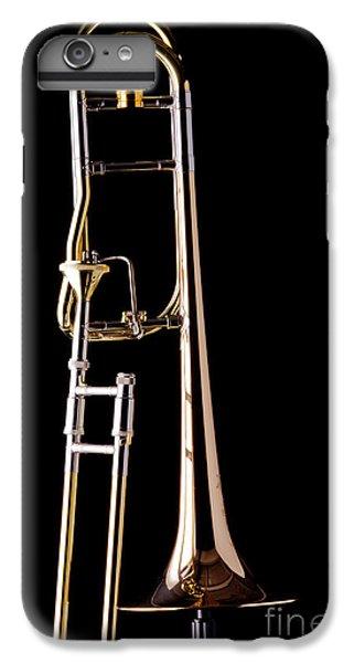 Trombone iPhone 6 Plus Case - Upright Rotor Tenor Trombone On Black In Color 3465.02 by M K  Miller