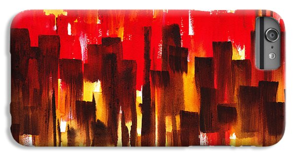 IPhone 6 Plus Case featuring the painting Urban Abstract Glowing City by Irina Sztukowski