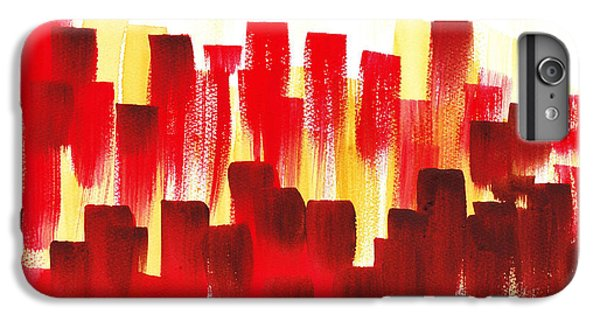 IPhone 6 Plus Case featuring the painting Urban Abstract Red City Lights by Irina Sztukowski