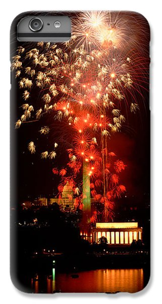 Lincoln Memorial iPhone 6 Plus Case - Usa, Washington Dc, Fireworks by Panoramic Images
