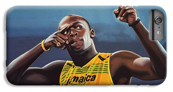 Blue iPhone 6 Plus Case - Usain Bolt Painting by Paul Meijering