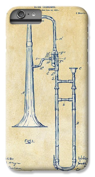 Trombone iPhone 6 Plus Case - Vintage 1902 Slide Trombone Patent Artwork by Nikki Marie Smith