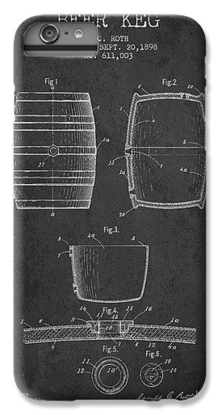 Vintage Beer Keg Patent Drawing From 1898 - Dark IPhone 6 Plus Case