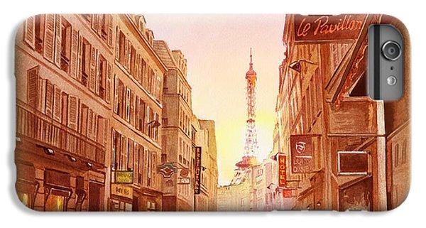 IPhone 6 Plus Case featuring the painting Vintage Paris Street Eiffel Tower View by Irina Sztukowski