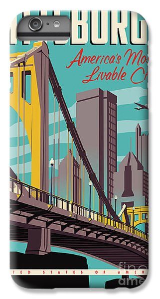 Airplane iPhone 6 Plus Case - Vintage Style Pittsburgh Travel Poster by Jim Zahniser